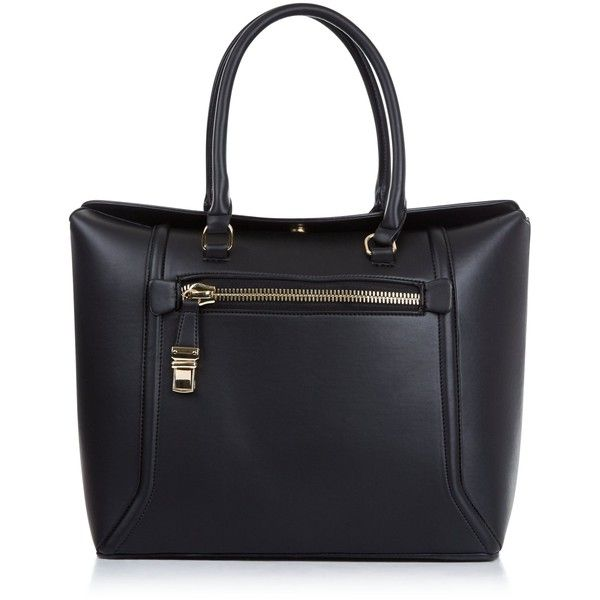 New Look Black Fold Top Tote Bag ($34) ❤ liked on Polyvore featuring bags, handbags, tote bags, black, structured tote, fold over tote bag, faux leather tote bag, vegan tote bags and tote handbags