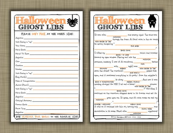halloween mad libs harvest party game diy printable black cat bat - Story About Halloween