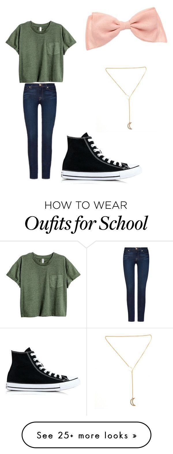Cute Outfits School Day by julietablet on Polyvore featuring 7 For All Mankind and Converse Women, Men and Kids Outfit Ideas on our website at 7ootd.com #ootd #7ootd