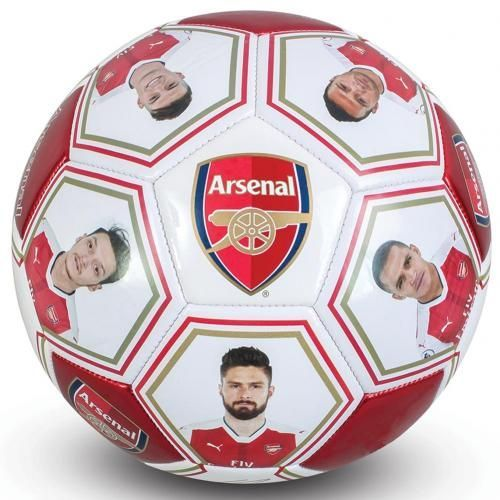 Metallic looking Arsenal football featuring the club crest and printed player photos and signatures. FREE DELIVERY