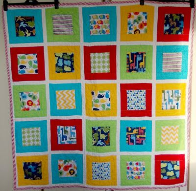 Max's Quilt using Urban Zoologie by Ann Kelle and Sketch fabrics