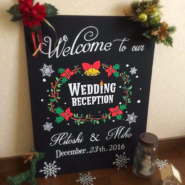 手描き黒板クリスマスウェルカムボード✩*55.4×44.5cm⋆幸せのポインセチアリース❁結婚式