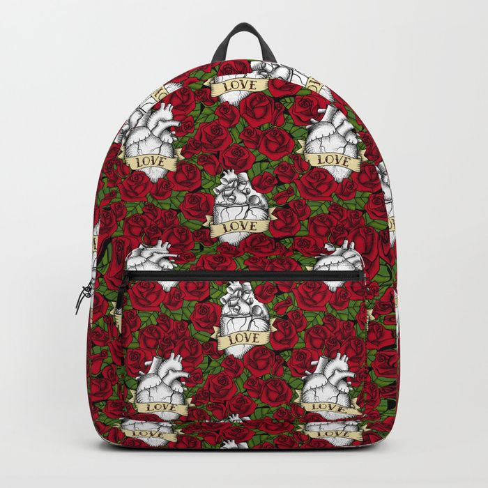 "Our Backpacks are crafted with spun poly fabric for durability and high print quality. Thoughtful details include double zipper enclosures, padded nylon back and bottom, interior laptop pocket (fits up to 15""), adjustable shoulder straps and front pocket for accessories. Dry clean or spot clean only. One unisex size: 17.75""(H) x 12.25""(W) x 5.75""(D). #heart #roses #love #tattoo #valentinesday #miavaldez #mia #society6  #bag #bagpack"