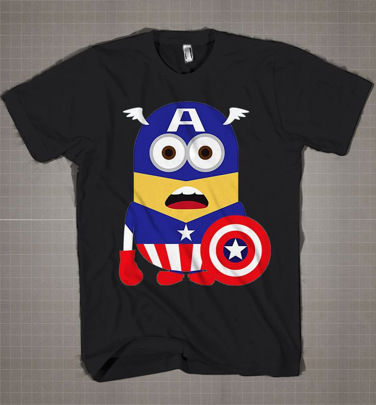Minion Captain America  Mens and Women T-Shirt Available Color Black And White