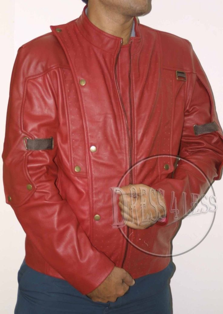Guardians of the Galaxy STARLORD Chris Pratt Red SLIM FIT GENUINE Leather Jacket  Available in all sizes