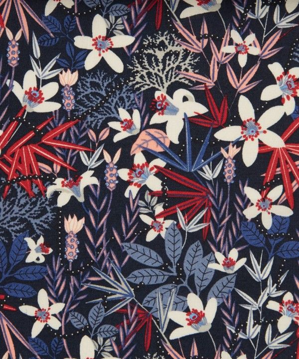 Floral - This fabric is very pretty. It might be too dark to use as a curtain and shower curtain in the small bathroom. Too dark of a room would not be refreshing and therefore would not do justice to the design. It would be very pretty somewhere.