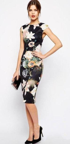 vestido preto floral tubinho                                                                                                                                                      Mais
