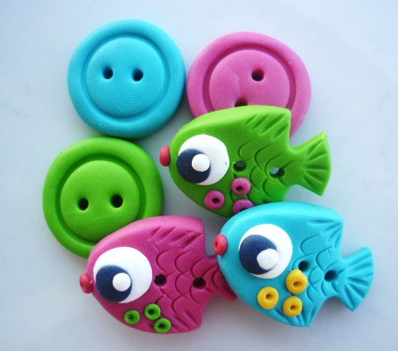 fish shaped buttons handmade with polymer clay by JustFingerPrint, $8.00