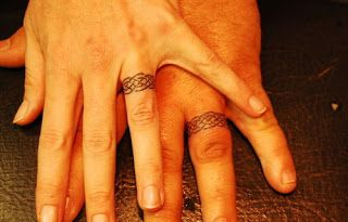 Wedding Rings for Women: 20 Best Wedding Ring Tatoo Ideas.  I love the plain black band and the roman numerals of your wedding anniversary.  Id want it to be small that way you could also wear a real wedding band.