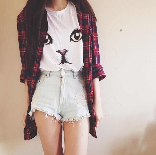 I love this outfit!  Oversized checked shirt, high-waisted shorts and an adorable cat top!