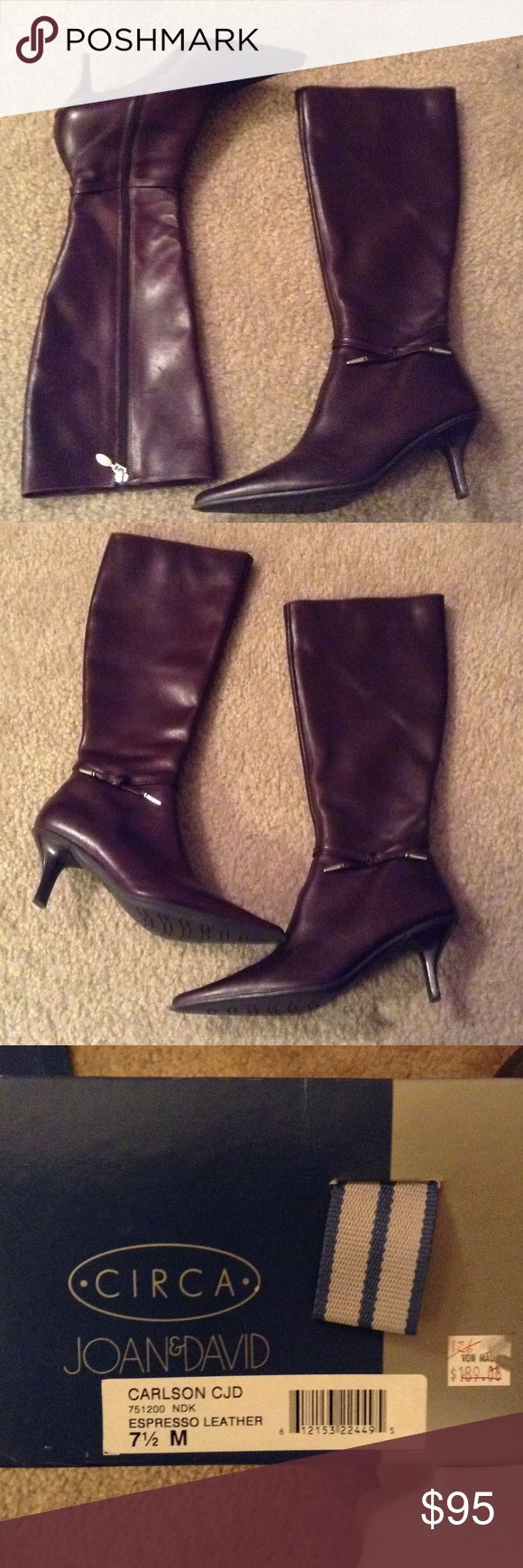 Circa Joan&David Espresso Leather burgundy boots. Espresso Leather boots, used in good condition.  Burgundy in color.  Size 7.5 Joan & David Shoes Heeled Boots