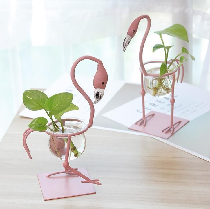 Cute Glass Flamingo Small Pots Water Culture Modern Homedecor Flowers Flamingo Plant Small Flower Pots Small Vases With Flowers