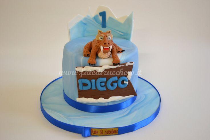 Torta Era Glaciale: con copertura sfumata e tigre Diego 3D interamente modellata a mano