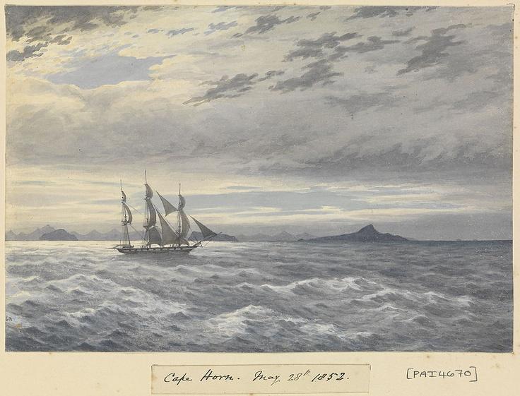 HMS 'Daphne' off Cape Horn, 28 May 1852, by Edward Gennys Fanshawe (Record Gold Run NYC - SFO)