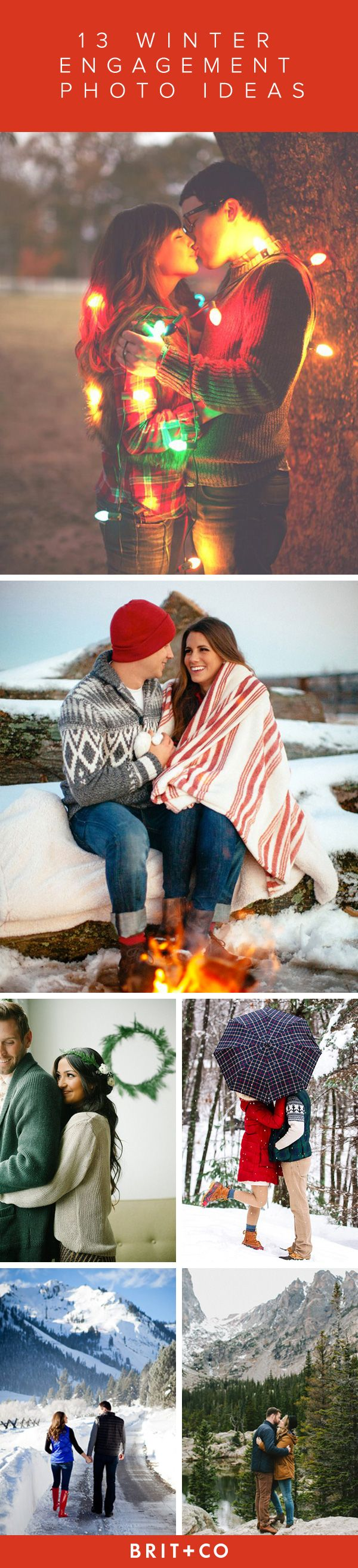 We love these winter engagement photo shoot ideas. If you and your love are waiting for the first snow fall or the rise of twinkly lights to take your engagement pictures, these ideas are all the inspiration you need.