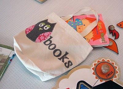 library bag: Book Club, Libraries Bags, Bookbag, Polka Dots, Book Bags, Libraries Book, Dots Teacher, Owl Appliques, Online Book