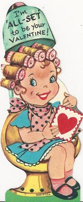 Curlers at The Beauty Salon Hairdresser Hair Dryer Valentine Card
