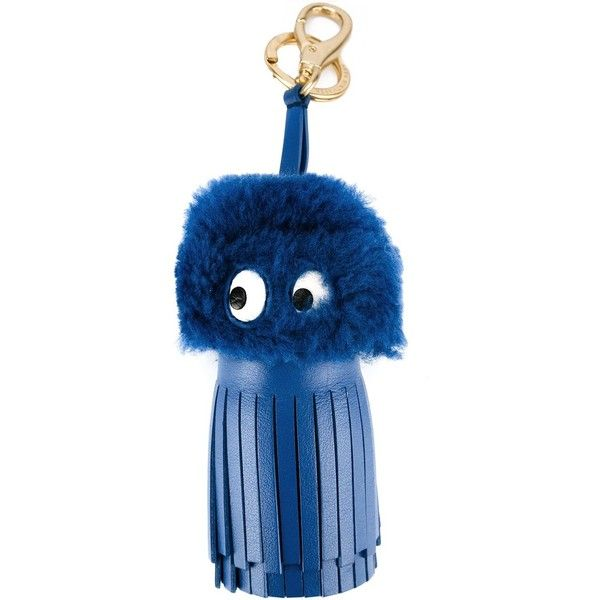 Anya Hindmarch 'Pacman' keyring (£260) ❤ liked on Polyvore featuring accessories, blue, anya hindmarch and leather key ring