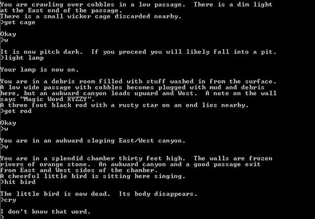 Colossal Cave Adventure (1976), running on a PDP-10