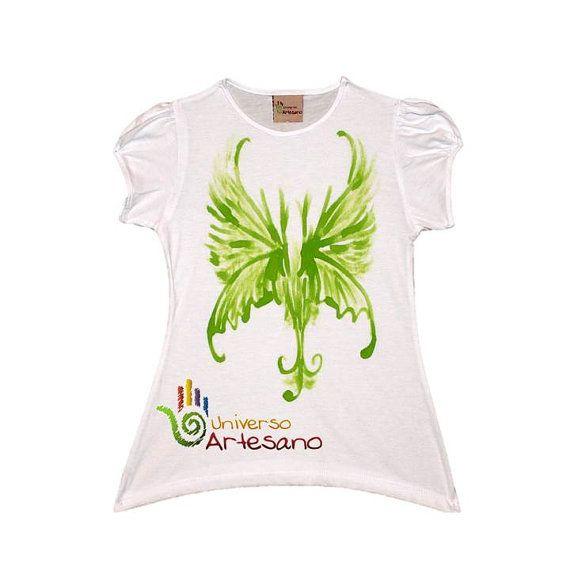 T-Shirt for kids Pima cotton hand painted Polo por UNIVERSOARTESANO