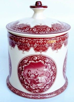 Red Transferware Porcelain Tea Caddy...
