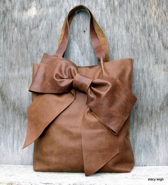 Bow Tote Bag in Rocky Mountain Distressed Brown Leather by Stacy Leigh Made to Order
