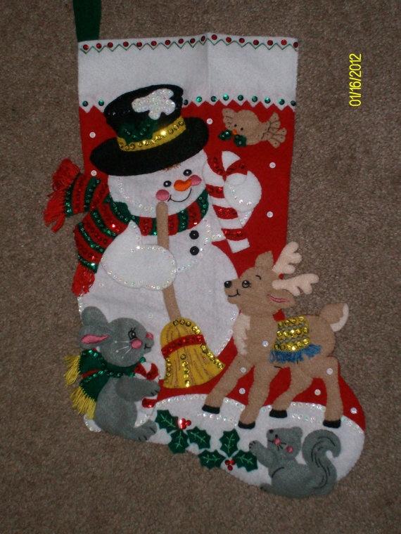 Christmas Stocking Finished Bucilla by HandcraftedbyGrandma, $75.00