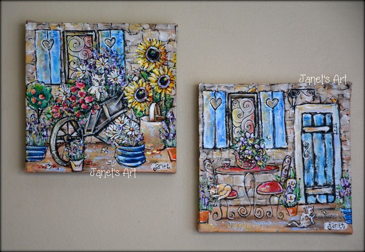 Cat adventures - Set of 2 Janet's Art  Acrylic on stretched canvas janet1bester@gmail.com