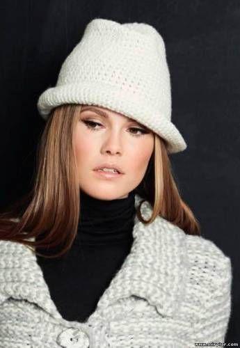 Элегантная вязаная шляпа Федора, схема вязания шляпы