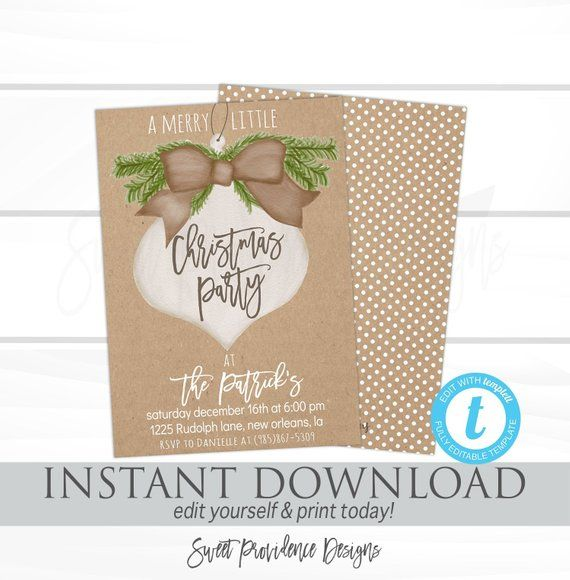 Christmas Party Invitation template, Editable Kraft Merry little