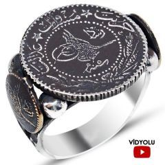 Mecidiye Kaşlı Tuğralı Gümüş Erkek Yüzüğü