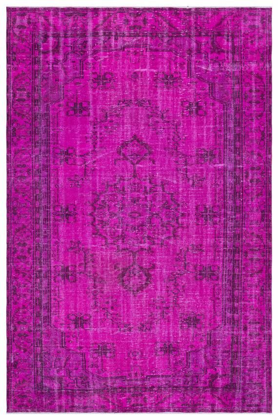 Pink Overdyed Rug 5 77 X 8 59 Turkish Carpets For Living Room