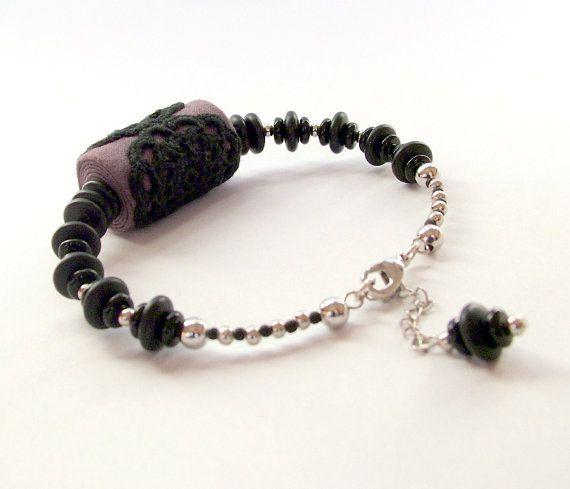 Fabric jewelry / beaded lace bracelet / black lace bracelet / crochet lace jewelry / customizable