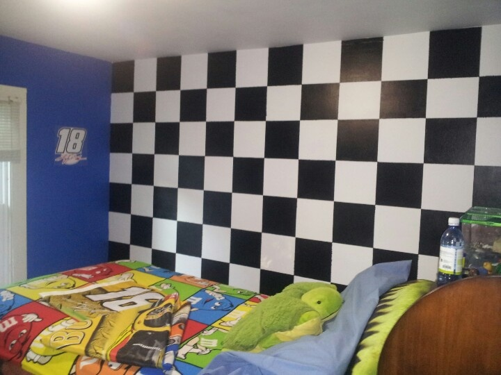 Nascar Themed Bedroom With Checkered Flag Wall