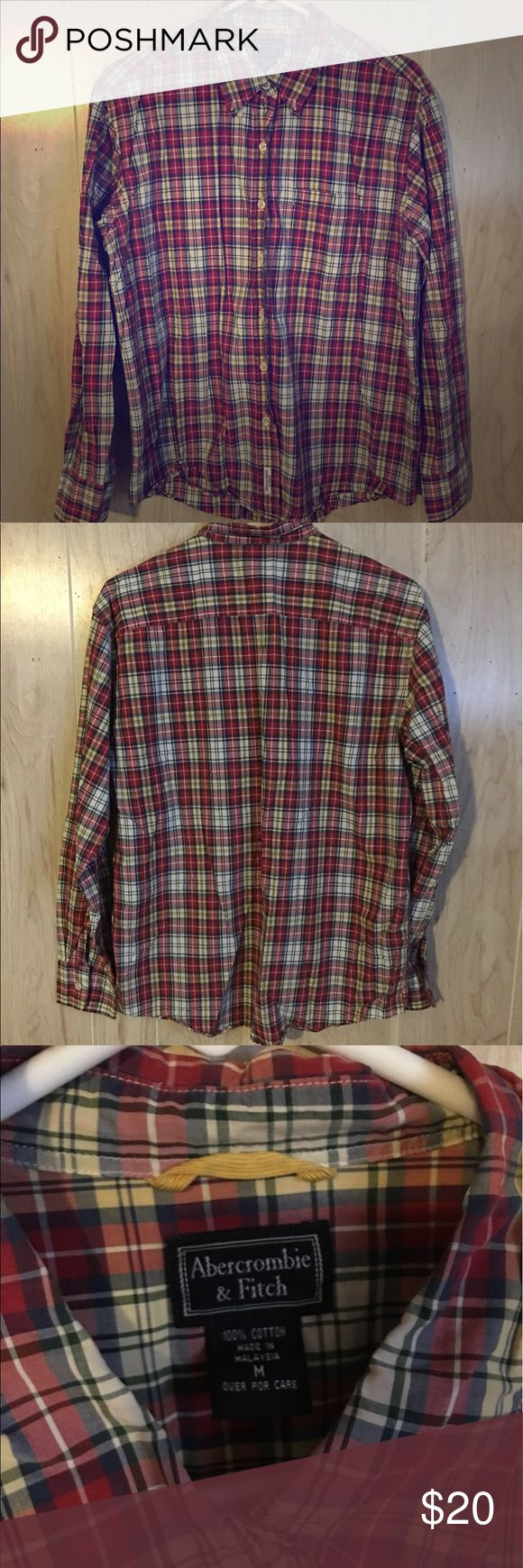 Abercrombie & Fitch Plaid Shirt, Size Medium Abercrombie & Fitch plaid shirt. Size medium. Red, yellow, white, blue, and green in color. Gently used. Bundle to save! Abercrombie & Fitch Tops Button Down Shirts