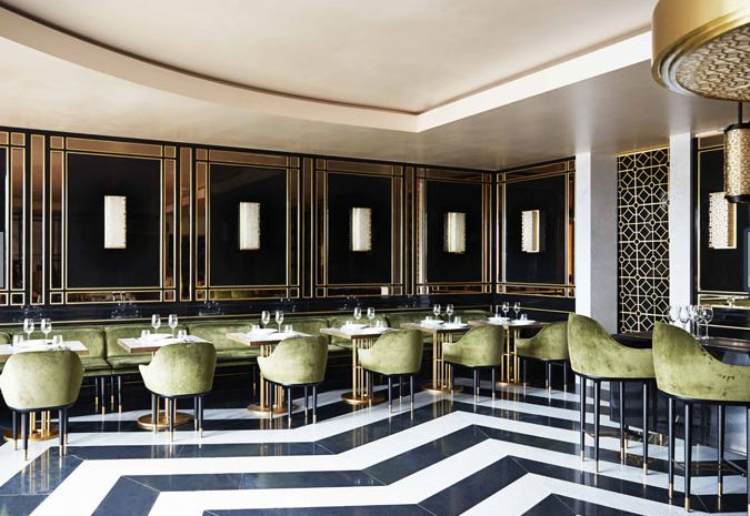 Gorgeous interior with chevron floor detail | Song Qi, Monaco