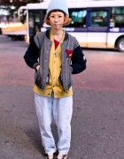 Resale Street Style in Shibuya w/ Kinji Varsity Jacket & Valon Cardigan