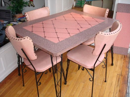 Gorgeous 1950's Laminate Dinette Set with Leaf and Hairpin Legs on Etsy, $850.00