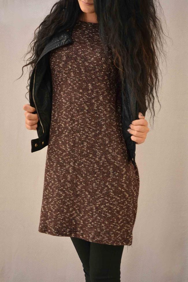 Γυναικείο φόρεμα μίντι πλεκτό  FORE-2267-bu Γυναίκα - Φορέματα 2016