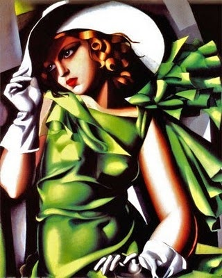 Tamara de Lempicka her famous painting Girl In Green With Gloves.....lovely portait