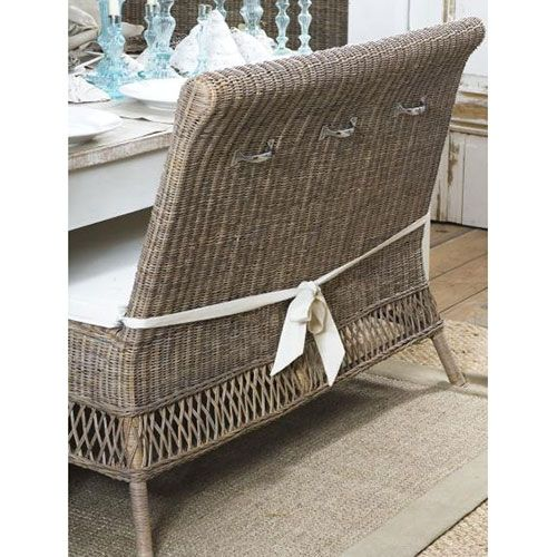 ST MALO French Country Dining Bench Seat   Vintage Rattan