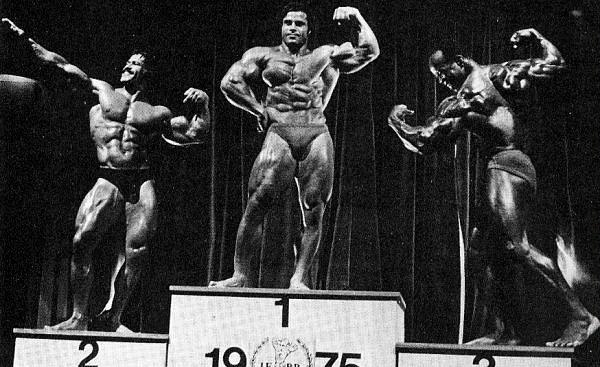 Ed Corney, Franco Columbu & Albert Beckles at the 1975 Mr. Olympia contest (Under 200 lbs winners)