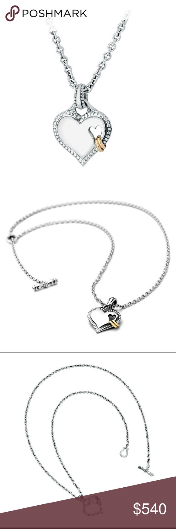 """Authentic Scott Kay Eternity Heart Necklace *Open to offers*  Scott Kay Heart and Rings Necklace. For lovers the world over comes this exclusive piece. Two 14K gold symbolic """"Eternity"""" rings loop through a medium sterling silver heart bordered in a beaded design. Petite anchor chain and toggle clasp. 18"""". Scott Kay Jewelry Necklaces"""