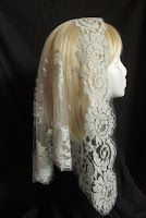 Veils by Lily - Mantilla-style chapel veils: French Bouquet Mantilla in Gray Want.
