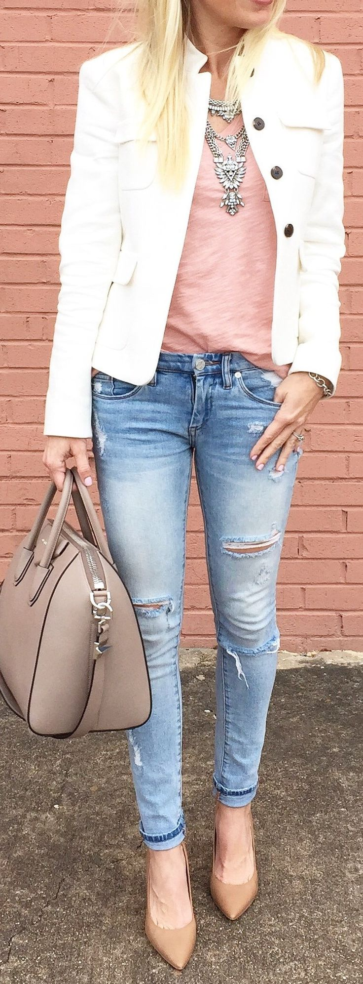 #spring #fashion /  White Jacket / Pink Top / Ripped Skinny Jeans / Nude Pumps
