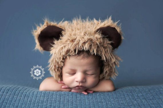 Kids Brown Bear Fur Hat Photography Props, Brantley, Props for Babies, Winter Hat, Baby Boy Props, Animal Hat, Faux Fur, Babies, Halloween