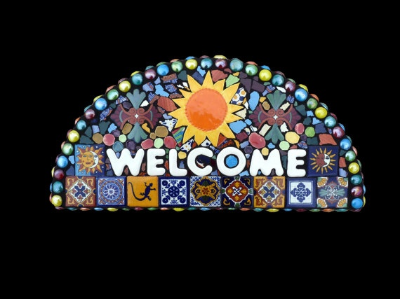 Southwestern Mosaic Welcome or Address Sign Made with Talavera Tiles.