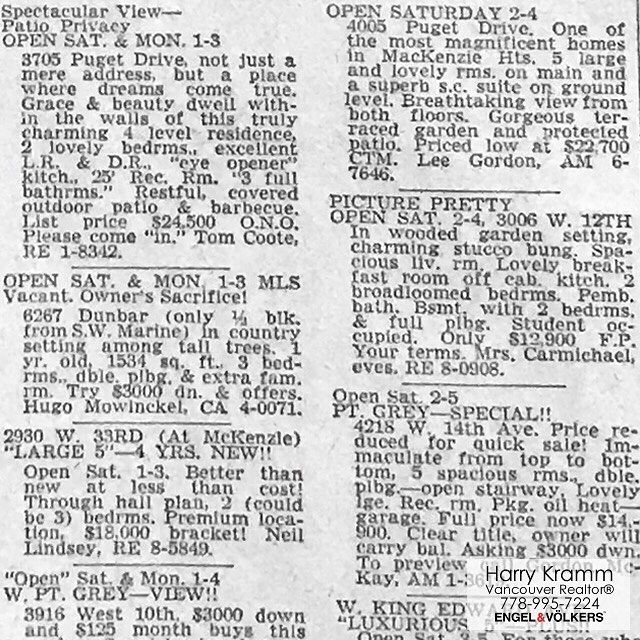Found a Vancouver Sun from Nov 9th 1962..... almost 56 years old! A screen grab from the real estate page. At top left 3705 Puget Drive on Arbutus Ridge was selling for $24500 ono. Wow how things have moved on in 56 years! Land value alone is now assessed at over $5000000 - accounting for inflation that $24500 should only be worth about $200000 today! . . #vancityhype #getoutside #discoverglobe #beautifuldestinations #socialrealtor #socialmedia #yvrre #realtor in #yaletown #vancity…