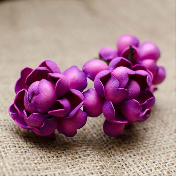 Hot Pink Roses Foam Flowers 6 pcs Wedding Flower Jewelery