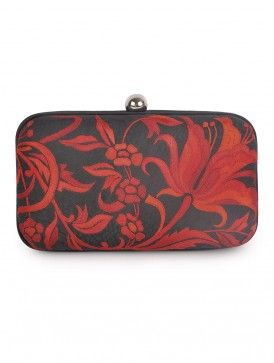 Black-Red Parsi Gara Silk Clutch